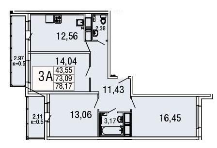 Планировка Студия площадью 29.72 кв.м в ЖК «Десяткино»