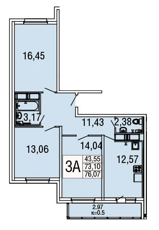 Планировка Студия площадью 28.42 кв.м в ЖК «Десяткино»